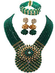 cheap -Women's Necklace Earrings Bracelet Beads Lucky Elegant Africa Earrings Jewelry Green / Lake Blue / Black / White For Wedding Party Gift Daily Festival 1 set