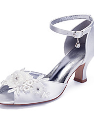 cheap -Women's Wedding Shoes Cuban Heel Peep Toe Classic Vintage Wedding Party & Evening Satin Rhinestone Flower Solid Colored White Ivory