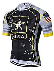 cheap -21Grams American / USA National Flag Men's Short Sleeve Cycling Jersey - Black / White Bike Jersey Top Breathable Moisture Wicking Quick Dry Sports Polyester Elastane Terylene Mountain Bike MTB Road