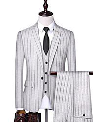 cheap -Black / White / Navy Blue Striped Standard Fit Polyester Suit - Notch Single Breasted One-button