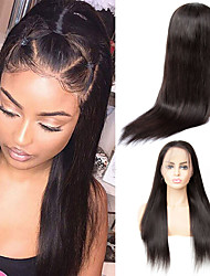 cheap -Human Hair Wig Medium Length Straight Side Part Party Women Best Quality 13x6 Closure Lace Front Brazilian Hair Women's Couple's Black#1B 8 inch 10 inch 12 inch