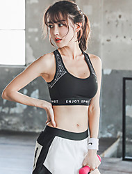 cheap -Women's Racerback Spandex Sports Bra Top Sports Bra Breathable Quick Dry Soft Padded High Support for Yoga Running Fitness Fashion Black White / Stretchy