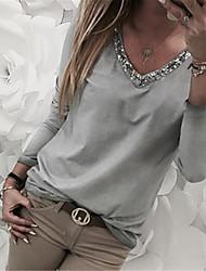 abordables -Tee-shirt Grandes Tailles Femme, Couleur Pleine Paillettes Basique Col en V Noir