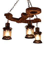 cheap -Industrial Chandelier 3 Lights Pendant Light Fixture Rustic Hanging Lights Height Adjustable Ambient Light Painted Finishes Wood