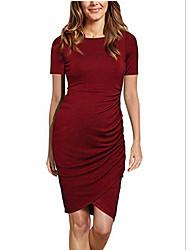 cheap -Women's Maternity Above Knee Sheath Dress - Short Sleeve Wine Black Blue Green S M L XL