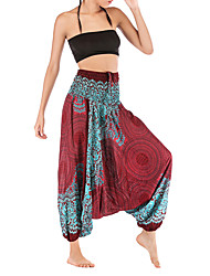 cheap -Women's Basic Harem Pants - Patterned White Wine Army Green One-Size