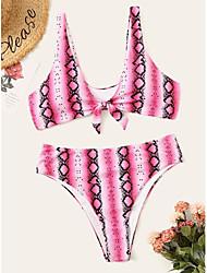 cheap -Women's Basic Blushing Pink Yellow Blue Triangle High Waist Bikini Swimwear - Leopard Backless Bow Print L XL XXL Blushing Pink