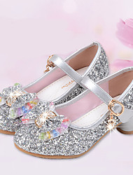 cheap -Girls' Flower Girl Shoes Microfiber Heels Little Kids(4-7ys) / Big Kids(7years +) Bowknot Silver / Blue / Pink Spring / Fall / Party & Evening / Rubber