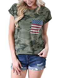 cheap -Adults' Women's Cosplay American Flag Cosplay Costume T-shirt For Halloween Daily Wear Cotton Independence Day T-shirt