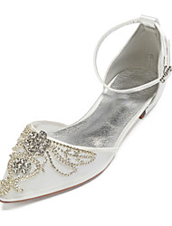 cheap -Women's Wedding Shoes Plus Size Flat Heel Pointed Toe Basic Wedding Party & Evening Rhinestone Crystal Solid Colored Satin Mesh Summer White / Black / Champagne