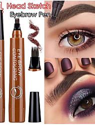 Недорогие -четыре головы жидкий карандаш для бровей черный коричневый водонепроницаемый прочный цвет исчезает брови макияж косметика