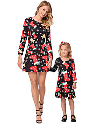 cheap -Parent-child Outfit Christmas Snowflake Stockings Printed Long-sleeved Dress Matching Clothes
