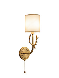 cheap -Wall Lamp Antique Wall Sconces for Bedroom Corridor Nordic Fabric Night Light Wall Mounted Antler Lighting Fixtures Brass
