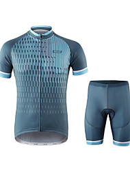 cheap -Arsuxeo Men's Short Sleeve Cycling Jersey with Shorts Spandex Polyester Blue Dark Gray Stripes Bike Clothing Suit Breathable Quick Dry Moisture Wicking Reflective Strips Sports Stripes Mountain Bike