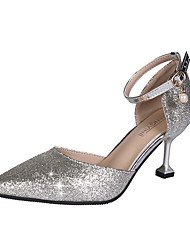 cheap -Women's Heels Kitten Heel PU(Polyurethane) Summer Gold / Silver / Black