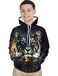 cheap -Kids Toddler Boys' Active Basic Tiger Geometric Print Color Block Print Long Sleeve Hoodie & Sweatshirt Black / Animal