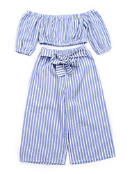 cheap -Baby Girls' Active / Basic Striped Short Sleeve Short Clothing Set Blue