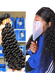 """cheap -3 Bundles Hair Weaves Brazilian Hair Deep Curly Human Hair Extensions Human Hair 300 g One Pack Solution 8""""-26"""" Natural"""