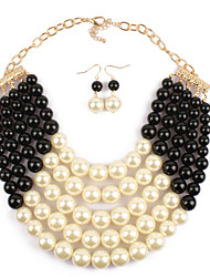cheap -Women's Pearl Bridal Jewelry Sets Layered Love Statement Artistic Luxury Imitation Pearl Earrings Jewelry Black / Rose Red / Yellow For Wedding 1 set