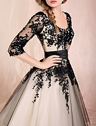 cheap -Ball Gown Scoop Neck Ankle Length Lace / Tulle Black / White Engagement / Prom Dress with Appliques 2020