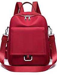 Недорогие -Большая вместимость Нейлон Молнии рюкзак Сплошной цвет Школа Черный / Винный / Хаки / Наступила зима