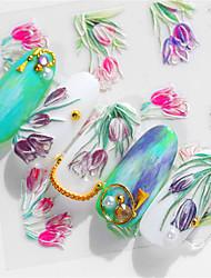 Недорогие -1 pcs 3D наклейки на ногти Цветы маникюр Маникюр педикюр Экологичные / Универсальный Стиль / Винтаж Повседневные / фестиваль