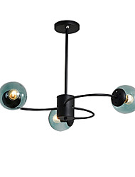 cheap -3-Light Sputnik Semi Flush Mount Lights Ambient Light Painted Finishes Metal Ceiling Lamp 3 Lights Chandelier Globe Glass Shade Simple Pendant Lighting Black