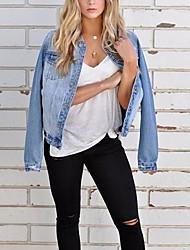 cheap -Women's Holiday / Work Punk & Gothic / Military Spring &  Fall / Fall & Winter Regular Denim Jacket, Solid Colored Shirt Collar Long Sleeve Denim Blue / Light Blue