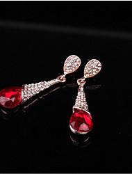 cheap -Women's Crystal Drop Earrings Pear Cut Drop Romantic Sweet Earrings Jewelry Red For Wedding Party Festival 1 Pair