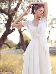 cheap -A-Line Wedding Dresses V Neck Sweep / Brush Train Chiffon Short Sleeve Country Casual Boho Little White Dress See-Through with Beading Appliques 2020
