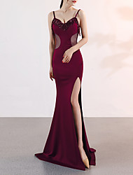 cheap -Mermaid / Trumpet Spaghetti Strap Sweep / Brush Train Satin Elegant & Luxurious / Elegant Formal Evening Dress with Beading / Split Front 2020
