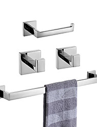 cheap -Towel Bar / Toilet Paper Holder / Robe Hook Premium Design / Creative Contemporary / Traditional Stainless Steel + A Grade ABS / Stainless Steel / Metal 4pcs - Bathroom Wall Mounted