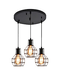cheap -3-Light Cluster Pendant Light Ceiling Chandeliers Flush Mount Industrial Pendant Lighting 3 Lights Adjustable Hanging Light Fixtures with Wire Cages Dining Hall Overhead Lights