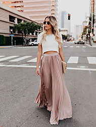 cheap -Women's Sophisticated Maxi Swing Skirts - Solid Colored Dusty Rose, Pleated Black White Blushing Pink S M L