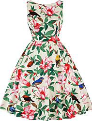 cheap -Vintage Inspired Dress Women's Spandex Costume Wine / Sky Blue / Purple Vintage Cosplay Knee Length