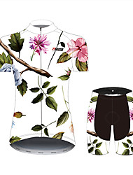 cheap -21Grams Floral Botanical Hawaii Women's Short Sleeve Cycling Jersey with Shorts - Black / White Bike Clothing Suit Breathable Quick Dry Moisture Wicking Sports 100% Polyester Mountain Bike MTB
