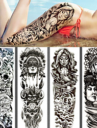 cheap -4pcs/lot full arm temporary tattoos Stickers for men women black death skull note super big Large waterproof Fake Tattoo Sleeves