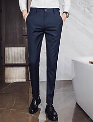 cheap -Men's Basic Dress Pants Pants Solid Colored Full Length Black Khaki Navy Blue