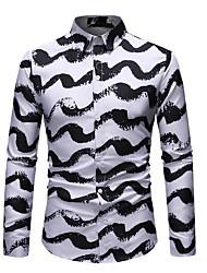 cheap -Men's Polka Dot Color Block Shirt Basic Daily White / Long Sleeve