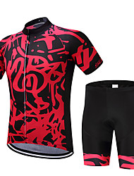 cheap -FUALRNY® Men's Short Sleeve Cycling Jersey with Shorts Black / Red Stripes Bike Moisture Wicking Quick Dry Sports Painting Mountain Bike MTB Road Bike Cycling Clothing Apparel / Stretchy