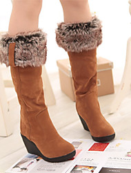 cheap -Women's Boots Knee High Boots Wedge Heel Round Toe Synthetics Knee High Boots Fall & Winter Black / Yellow / Beige