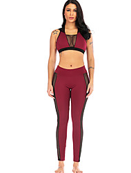 cheap -Women's See Through Yoga Suit Solid Color Mesh Elastane Yoga Running Fitness Leggings Bra Top Clothing Suit Sleeveless Activewear Breathable Moisture Wicking Quick Dry Butt Lift Micro-elastic Slim