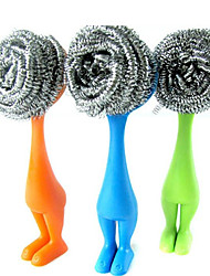 cheap -Stainless Steel Sponges Scrubbers Metal Scouring Pads with Long Handle Scourer Pot Brush Kitchen Hanging Strong Cleaner Steel Ball