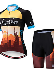 cheap -EVERVOLVE Women's Short Sleeve Cycling Jersey with Shorts Dark Purple Pink Orange / Black Statue Of Liberty Bike Clothing Suit Breathable Moisture Wicking Quick Dry Anatomic Design Sports Cotton Lycra