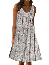 cheap -Women's Basic Loose Swing Dress - Floral Patchwork Print U Neck Red Navy Blue Gray M L XL XXL Belt Not Included
