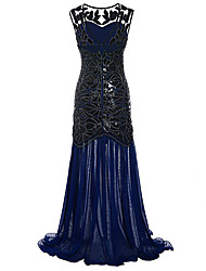 cheap -The Great Gatsby Charleston 1920s Flapper Dress Party Costume Women's Sequins Costume Black / Golden / Black+Golden Vintage Cosplay Party Prom Sleeveless Maxi A-Line / Tuxedo / Tuxedo