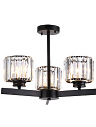 cheap -Ceiling Light Crystals Crystal Chandeliers Semi Flush Mount Round Crystal Cup Pendant Lamp Bedroom LED Chandelier Pendant Lights 3-Light Black K 9 Ceiling Pendant Lighting