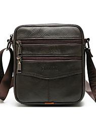 cheap -Men's Bags Cowhide Shoulder Strap Shoulder Messenger Bag Crossbody Bag Zipper Outdoor Black Brown Coffee