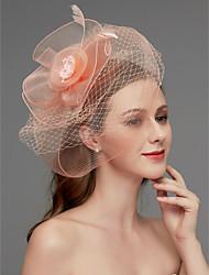 cheap -Net Fascinators / Headdress / Headpiece with Feather / Flower / Trim 1 Piece Wedding / Special Occasion Headpiece