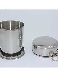 cheap -Stainless Steel Portable Camping Folding Collapsible Cup Metal Telescopic Keychain 75ml